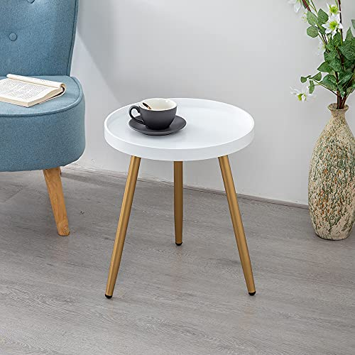 """EXILOT Round Side Table, Wooden Tray Table with Metal Tripod Stand,Modern Home Decor Nightstand Coffee Tea End Table Accent Tables for Living Room Bedroom Office Small Spaces, 18' H x 15"""" D"""