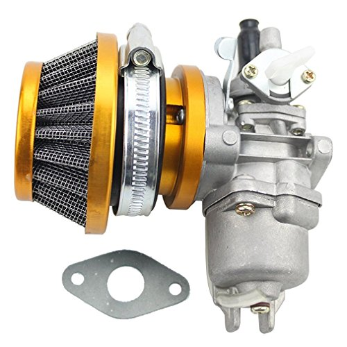 GOOFIT Carburatore Minimoto con Filtro Aria 44mm del Filtro Carburante Sostituzione per 2 Tempi 43cc 47cc 49cc Pit Bike Mini Quad ATV Scooter Oro