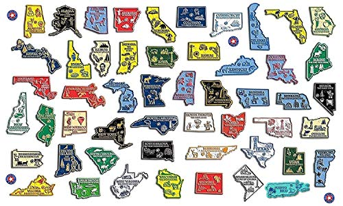 All 50 State Map Magnets Plus Washington D.C. and Puerto Rico