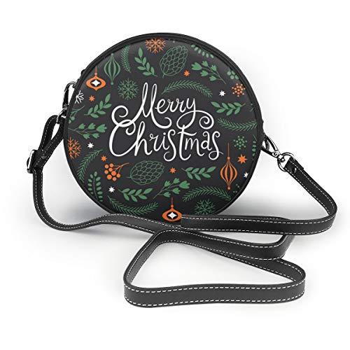 Wrution Merry Christmas Schriftzug, Vektorbild, rund, mit Reißverschluss, Schultertasche, weiches Leder, Kreise, für Damen