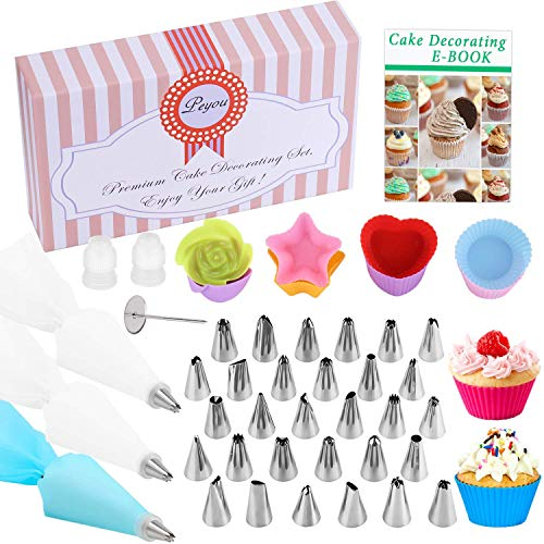Cake Piping Kit, PEMOTech 52-in-1 FDA Approved Cake Decorating Supplies Include 30 Icing Tips, 8 Silicone Baking Cups,1 Silicone Piping Bag,10 Disposable Pastry Bags,2 Couplers,1 Flower Nail, Gift Box