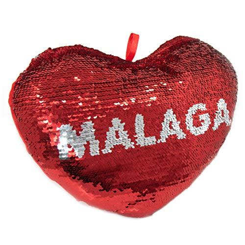 APEX GIFTS - Cojín con Forma de corazón de Lentejuelas y Reversible - El corazón de Málaga