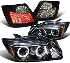 Spec-D Tuning LT2LHP-TC04JBL-TM Tail Light Halo Projector Headlights Glossy Black Smoked LED Lamp