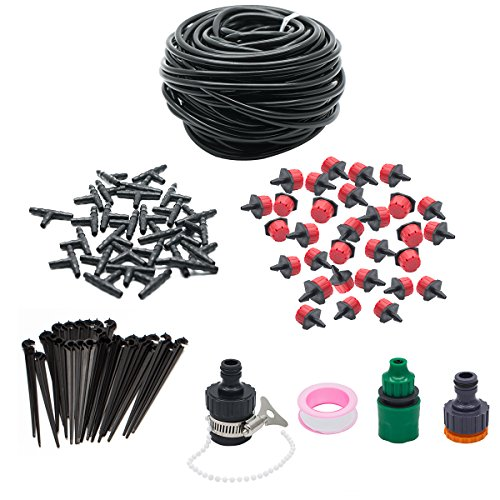 Watering Systems , JELEGANT 82ft Micro Irrigation Drip System Irrigation Kit Water Saving Drip Irrigation Water Automatic Kit For Garden Hanging Baskets Pot Plants Flower Beds Borders Greenhouses