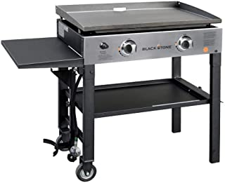 Blackstone 1605 28 Inch Outdoor Propane Gas Griddle Stainless Steel / Black, 2 Independent Burners, 448 Sq In Flat Top Cooking Surface, Drip Tray, Folding / Portable, Professional Grill, New Model