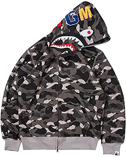 EUDOLAH BAPE Shark Ape Bape Hoodie Camo Print Sweater Casual Loose Jacket for Men Women Zip Up Black-a,Medium