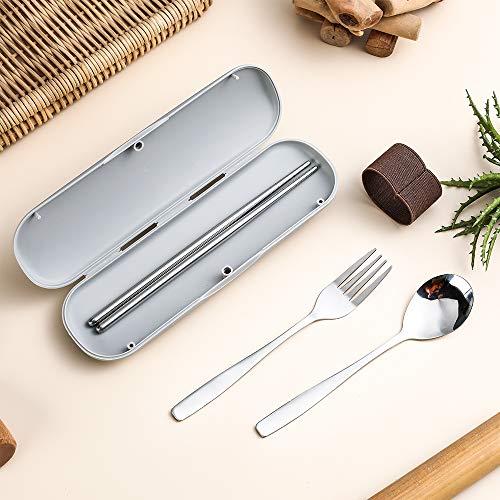 bohaojp カトラリー スプーン フォーク 箸 スプーン フォーク 3点セット 食器セット 弁当用 収納ケース付 グレー