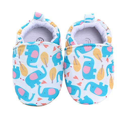 "Cute Baby Shoes Infant Prewalker Cloth Slippers Bebe Zapatos 0-18 Months (0-6 Months | Heel-to-Toe 4"", Blue Elephants)"