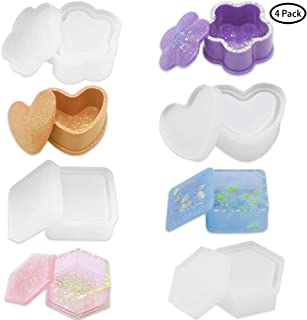 KEKU Molde de resina de silicona, cuadrado, corazón, hexágono, flor, resina epoxi para hacer joyero, caja de almacenamiento