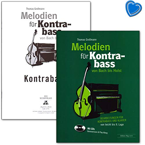 Melodías para contrabajo desde arroyo hasta holst – Edición para contrabajo y piano de ligero hasta II. Situación – partición de piano, solostimo, CD, pinza para partituras.