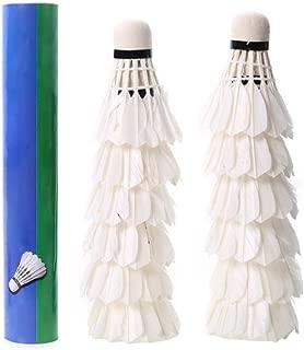 Mokylor 12 Pcs Badminton Balls Goose Feather Shuttlecocks White for Training Game Sport