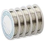 Tomodoks 5 piezas de alambre de cobre de 0,3 mm x 15 m, alambre de joyería, alambre de lazo, alambre de manualidades, alambre de cuentas de joyería, alambre de cobre plateado
