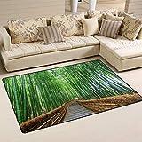 SunsetTrip - Alfombra de bambú para sala de estar, dormitorio, antideslizante, moderna, suave, lavable, 152,4 x 99,1 cm