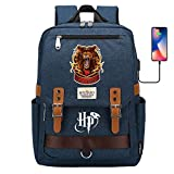 DDDWWW Gryffindor Bolsa de león Mochila, Harry Potter Mochila portátil, Mochila de Viaje de Ocio Boy Girl Student School Bag 42CM/30CM/16CM Azul Marino