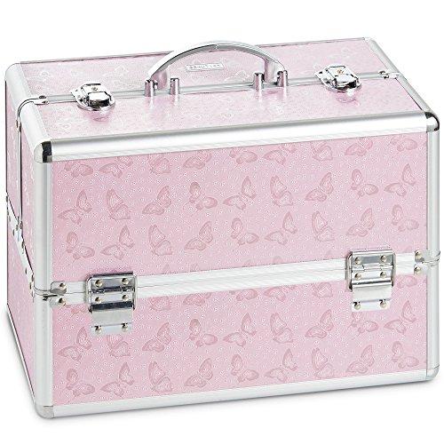 Beautify Grand cosmétique/maquillage coffret à imprimé papillon - Make Up beauty case rose