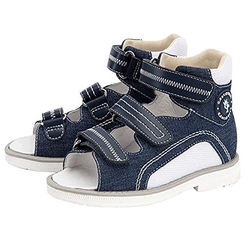 BQT Zapatos ortopédicos para niños, Sandalias correctivas para niños de caña Alta con Soporte de Arco y Tobillera Piernas en Forma de XO Pies Planos Zapatillas de Deporte Hallux Valgus,Azul,24