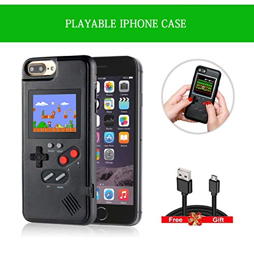iPhone Custodia, Phone 6/6Plus iPhone Case Shell Cover for iPhone8 / 8 Plus, iPhone 7/7 Plus, iPhone XS/X, iPhone 6/6Plus, Nera Gameboy TPU iPhone Custodia con 36 Retro Small Games (iphone6/7/8)
