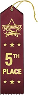 5th Place Swimming Award Ribbons - 25 Count Bundle – Includes Event Card and String – Made in The USA
