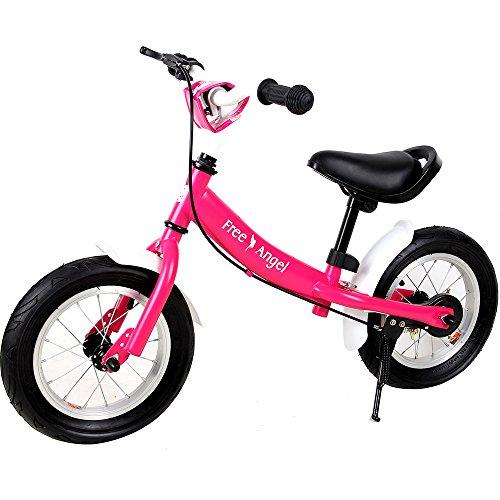 Deuba Bicicleta de Equilibrio 'Street Angel' para niños Ruedas 12' con Sillín y Manillar Ajustables sin Pedales Rosa