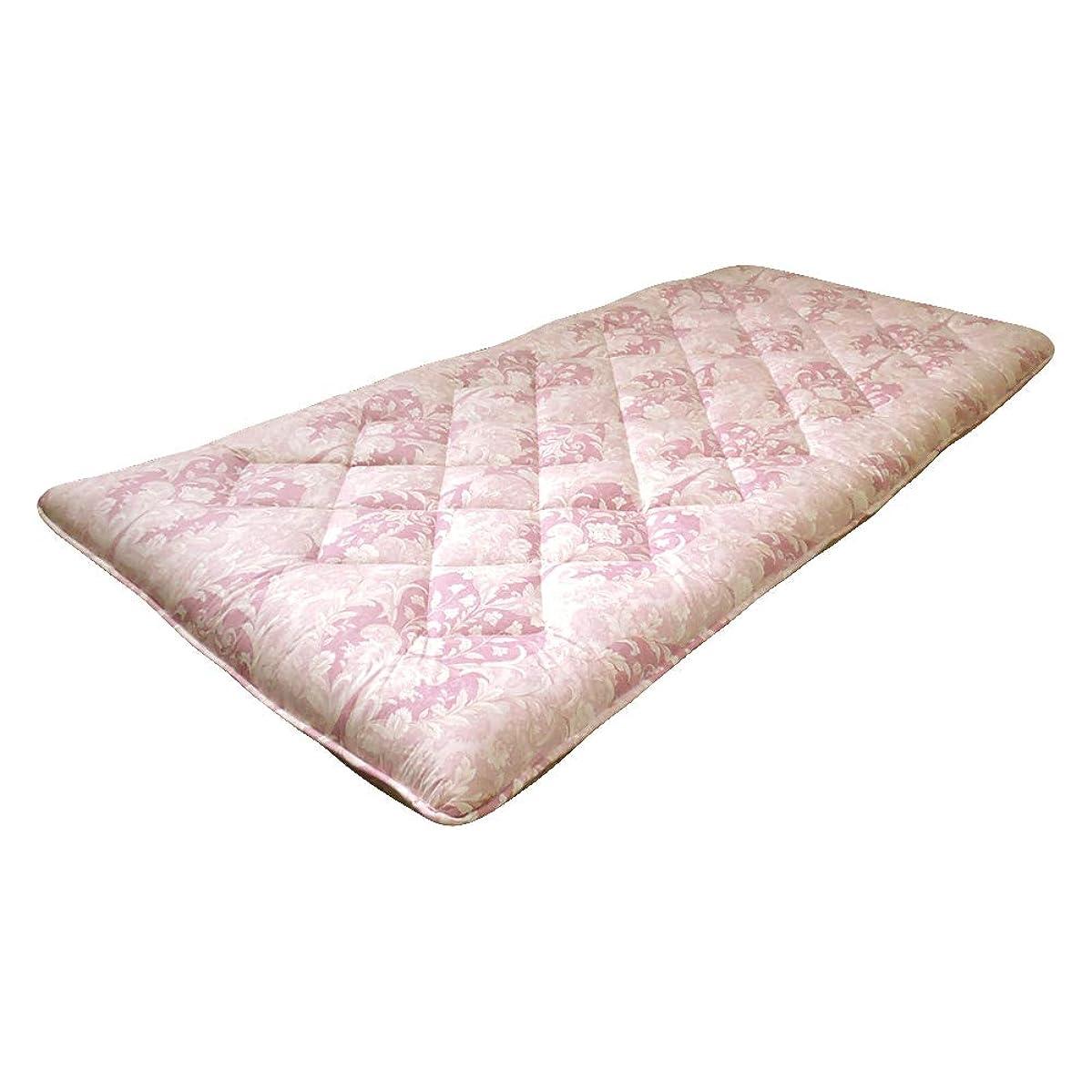 普通に逮捕地殻眠り姫 フランス 羊毛 三層 敷き布団 シングル ダマスク ピンク 防ダニ かさ高 日本製