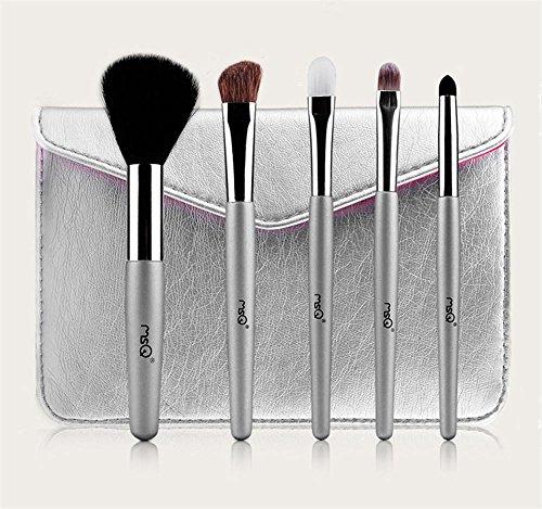 MSQ 5 pcs maquillage brosse double noir et blanc fibre portable cheveux maquillage brosse toile sac outils de beauté, STBA05S