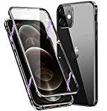 Funda para iPhone 11,Adsorción Magnética de Metal, 360 Grados Protección Case,Transparente Vidrio Templado Case con Protector Cámara,para iPhone 11 Cover Case,Negro