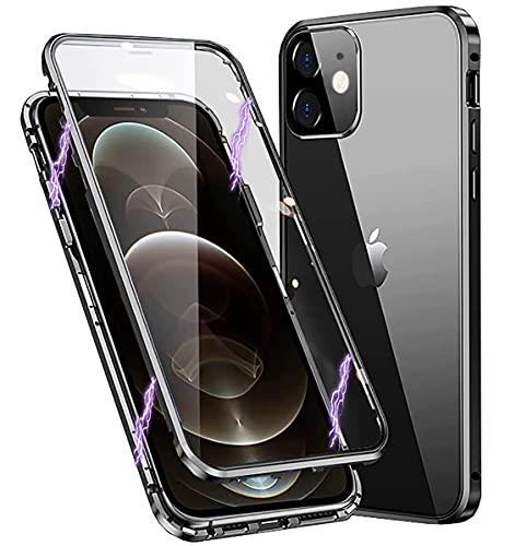 OYPOS Funda para iPhone 11,360 grados, protección completa antigolpes, parte delantera y trasera, cristal templado, marco de metal, ultrafina, color negro