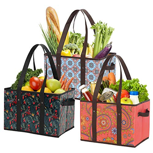 Foraineam Reusable Grocery Bags 3 Pattern Assorted Durable Heavy Duty Grocery Totes...