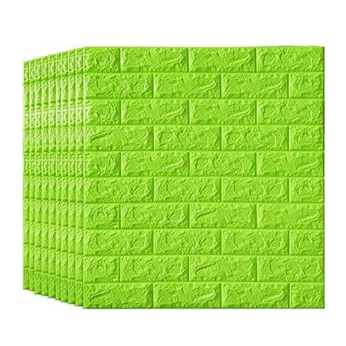 KUNYI 3D Brick Tapete, Removable Peal und Stick-PE-Schaum-Wand-Aufkleber for Wohnzimmer Arbeitszimmer Grün (Size : 20 Pack)