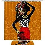 TIKISMILE - Juego de cortinas de ducha de tela de poliéster impermeable para mujer africana con alfombra antideslizante de 60 x 40 cm, cortinas de ducha con 12 ganchos para baño