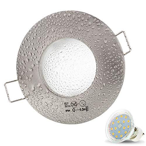 1er Set AQUA IP44 230V LED SMD 4W Kaltweiß Decken Einbaustrahler Einbauspots Deckenspots, Badezimmer Feuchtraum Außenbereich (Matt-Chrom) inkl. GU10 Fassung mit 15cm Anschlusskabel [Einbautiefe:10cm]