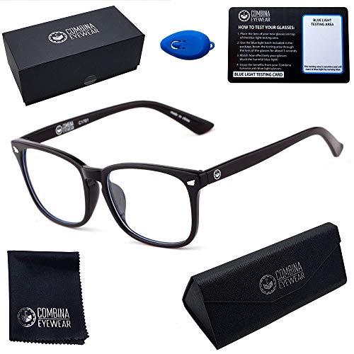 Blaulichtfilter Brille - Combina Eyewear - Gaming Brille mit Blaulichtfilter - Gegen Müdigkeit, Kopfschmerzen und Migräne - Blockt Blaulicht von Handy, Computer und Tablet - Für damen und herren.