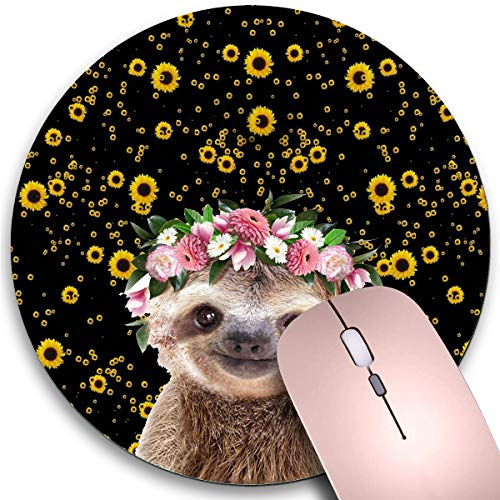 Round Mouse Pad,Sloth and Flower Crown Non-Slip Rubber Circular Mouse Pads Customized Designed for Home and Office,7.9 x 7.9inch