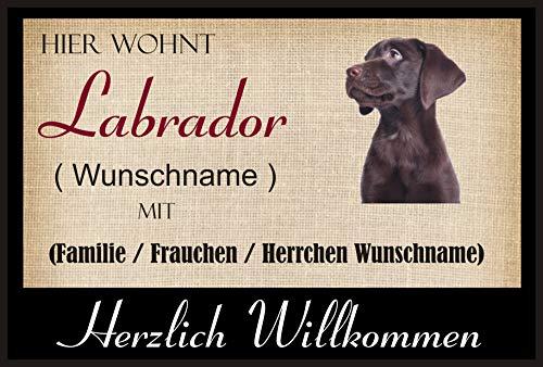 Crealuxe Fussmatte/Hundemotiv - Herzlich Willkommen/Hier wohnt Labrador (Wunschname) mit Familie (Wunschname) - Fussmatte Bedruckt Türmatte Innenmatte Schmutzmatte lustige Motivfussmatte