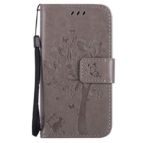 Guran® PU Leder Tasche Etui für Nokia Lumia 635 Smartphone Flip Cover Stand Hülle & Karte Slot Hülle-grau