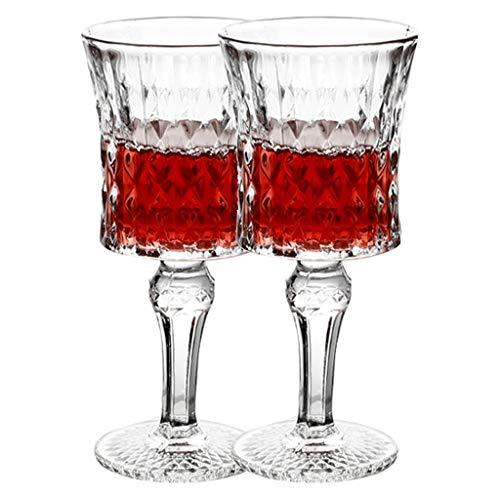 Copas de vino Juego Cristal Copa Tallada con Textura Vintage Exquisita Copa De Champán De Alta Gama (Color : Clear, Size : 7.2 * 15.8cm*2)