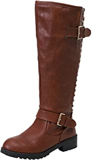 Lanskirt Rivet Dameslaarzen, kniehoge cowboylaarzen, westernlaarzen, leren laarzen, damesschoenen, laarzen, laarzen, 35-43