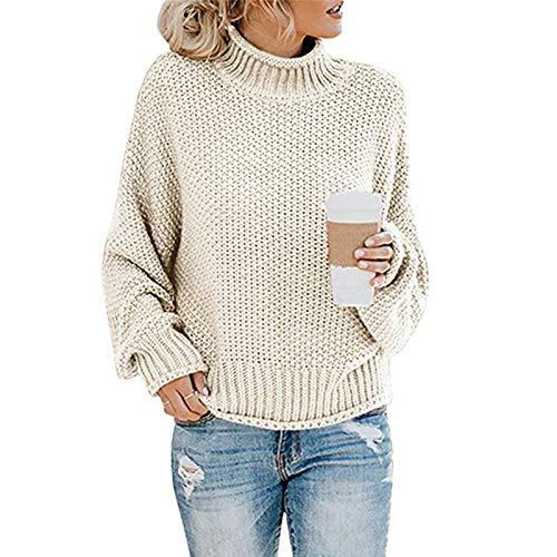 Avsvcb Otoño/Invierno suéter de Punto de Comercio Exterior Europeo y Americano de Las Mujeres de Hilo Grueso suéter de Cuello Alto Mujeres