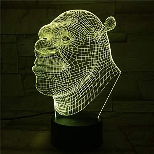 3D Luz De Noche Led Luz de Noche Shrek lámpara de escritorio creativa para cumpleaños Con interfaz USB, cambio de color colorido