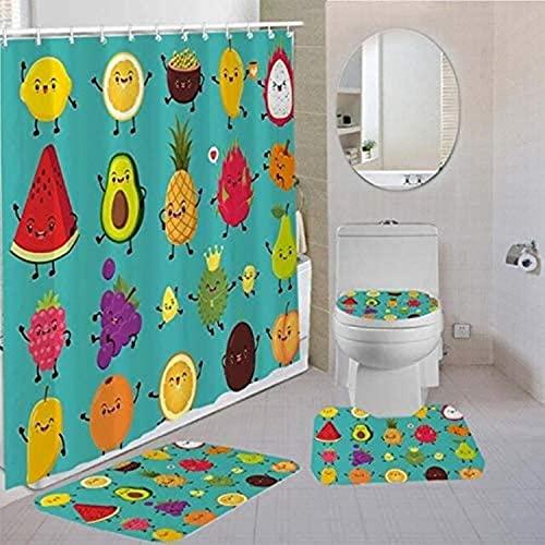JZDH Duschvorhänge Sets Wassermelone Zitrone Cartoon Obst Badezimmer Set mit Haken wasserdichte Duschvorhang rutschfeste Badezimmer Teppich Teppich Toilette Deckel 180x180cm