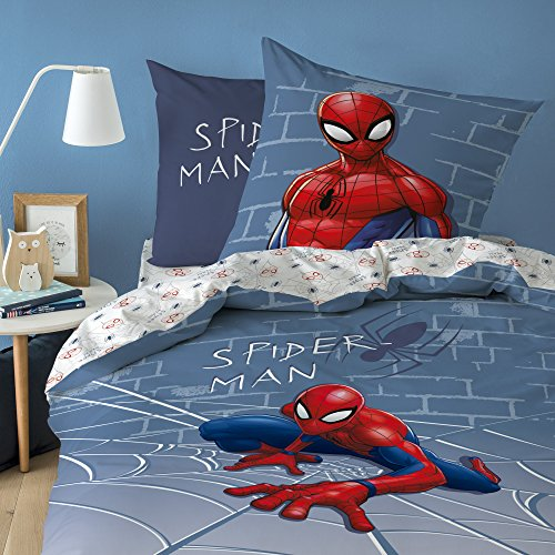 Spiderman Marvel Incredible, – , Almohada, Cama de Cama, 100% algodón, Gris, 135 x 200 + 80 x 80 cm