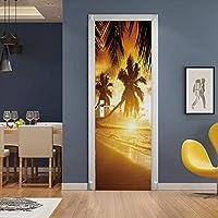 QWEFGDF ドアステッカーデコレーション ファッショナブルなモダンな家のインテリアの剥離可能なドアのステッカーの装飾 76x203 cm ビーチの夕日
