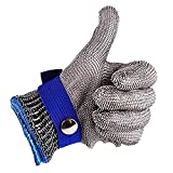 Mentin - Guante de carnicero en cota de malla de acero inoxidable resistente, corte azul, alto rendimiento, nivel 5, protección 24 cm (azul)