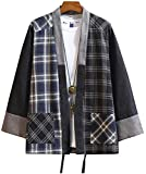 Hotmiss Mens Kimono Hipster Plaid Patchwork Linen Cloak Open Front Cardigan Jackets (Black Plaid, X-Large)