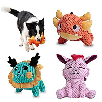 Als Ellan Latest Squeaky Stuffed Dog Toys Pack for Dogs, Durable Plush Chew Toys with Squeaker, Stuffed Animal Cute Soft Pet Toys for for Puppies Teething, Small Medium Large Dogs (3 Pack)