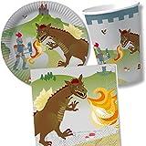 37 pièces Thème Chevalier et Dragon Lot d'assiettes en Papier, serviettes Children's gobelets en carton pour fête d'anniversaire