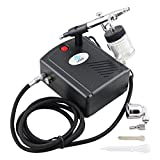 OPHIR 0.3mm Airbrush Spray Paint Air Compressor Kit for Hobby Temporary Tattoo Car Painting (Black)