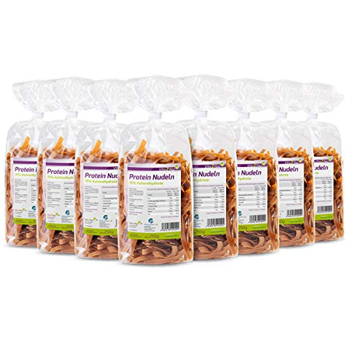Protein Nudeln - Neue Rezeptur - 61% Eiweiss - Nur 15% Kohlenhydrate - Eiweiß Pasta - Premium Qualität (8 x 250g)