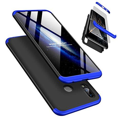 Huawei Honor Play Hülle + Panzerglas, LaiXin 360 Grad Handyhülle Ultra Dünn PC Plastik Anti-Kratzen Schutzhülle Schutz Case mit Displayschutzfolie für Huawei Honor Play - Blau/Schwarz