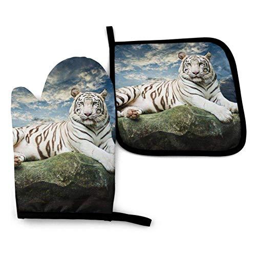 Tiger ruht auf einem Steinofen Handschuhe und Topflappen, beständige heiße Pads mit rutschfesten Grillhandschuhen aus Polyester für die Küche